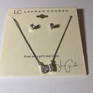 LC Lauren Conrad Silver Bow Necklace Earrings Set